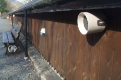 Sunday, 17.4.2021. Richard and Hannah have been fitting public address speakers around the yard at Maespoeth, ready for Covid-19 secure operations to commence at the end of May.