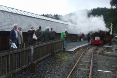 Monday, 21.8.2017. A large party of Vintage Car enthusiasts return to their train to head back to Corris …