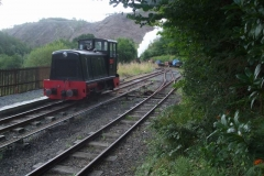 """… with an early """"Special"""" for a regular group, who are taken down """"the bank"""" before de-training. The echo of the exhaust as the loco started the climb back to Maespoeth was fantastic!"""