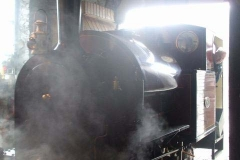 Dave keeps a close eye out as No. 7 backs out of the Engine Shed …
