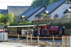 For the first time in 86 years, a passenger train stands on the site of the original Corris Station.