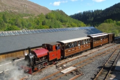 Sunday 22nd May and the 16:40 ex-Maespoeth has an unusual formation. Setting off from Maespoeth South Platform.