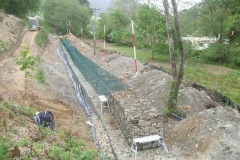 By the end of the day, the first of the top gabions had been filled …