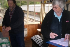 … and in the Signal Box, Bill and Sue are checking the First Aid boxes and listing replacement items …