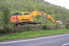 Wednesday, 16.9.15. An excavator has arrived ready to start work as soon as protection measures are in place and the ground is dry enough …