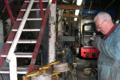 … while at Maespoeth, Bob ponders over how to re-fit a missing brake block on a trolley …