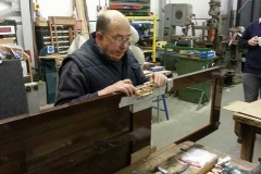 Ian is well on with fitting the handle unit to one of the sliding doors for carriage 22.