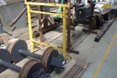 Nearby, the wheelsets, axleboxes and bogie frames for the last production bogies have been similarly treated.