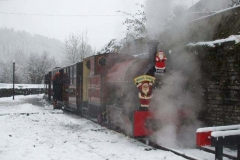 Sunday, 10.12.2017. Tickets are checked before a train departs from Corris to Maespoeth for the passengers to visit Santa.