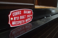 … while in Maespoeth sheds, the maker's plates for carriage No. 23 have been fitted …
