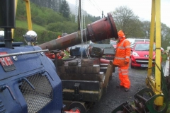 Tuesday, 18.5.2021. It is raining, and Dick helps transfer scrap using the new manual hoist …
