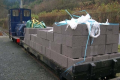 Monday, 23.11.15. The sand and blocks for the yard wall at Maespoeth have been loaded to move to site.