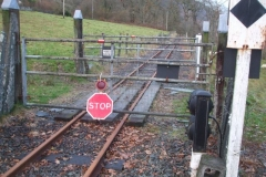 "… where a ""Stop"" board has been secured across the line until all the track work is complete."