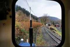 The view up the siding from the cab of loco 6, the railhead by this point had become extremely greasy and sand needed to be found to gain adhesion.