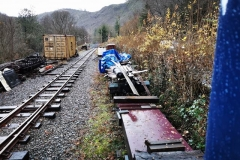 The wagon which until recently was used to store loco 10's new boiler is next to be dragged out the undergrowth, along with four ex RNAD Trecwn wagons.