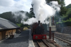 The late running 16.45 train makes a fine sight as it departs from Maespoeth.