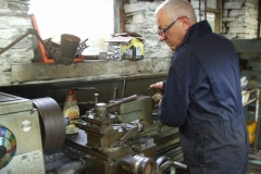 Tuesday, 25.7.2017. Bob is back on the lathe, turning up spacers for carriage No. 24 as a brief interlude from screw couplings …
