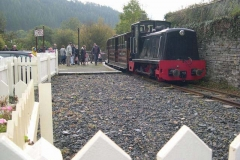 … as No. 11 brings the first train of the day into Corris …