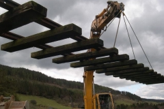 Saturday, 23.4.2016. Flying through the air with the greatest of ease! A track panel from our stock on a nearby farm, is moved to a position where it can be stripped down
