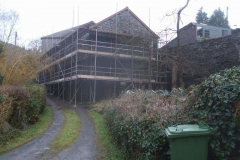 Just the last lift needed for the apex of the gable end, and the sloping roof of the Coach House & Parcels Office.