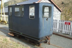 Monday, 26.2.2018. Our bogie brake van, ex-RNAD, has been positioned at Maespoeth ready for collection by the TR, on temporary loan.