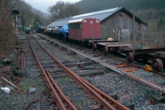 After a comprehensive shunt, all the stored stock on the head shunt (original main line) is stored in the South Platform …