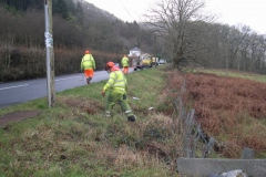 Friday, 22.1.16. Gwynedd Council have just finished cutting back vegetation in the former Upper Corris branch field boundary, which if left un-checked, could in time interfere with Trunk Road traffic (as well as livestock in the field!).