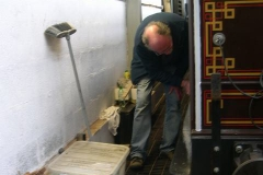 Monday, 25.1.16. Dave fills and sands paint imperfections on carriage No. 21 …