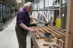 Mike is varnishing the frames for the clerestory roof of carriage No. 22 …