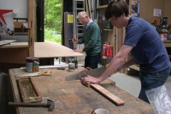 Peter Gray and Dewi Jones are cutting out timber for various jobs on the carriage …