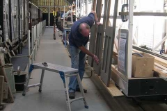 Wednesday, 25.6.14. Dave Mundy rubs down the carriage doors prior to giving them a second undercoat …