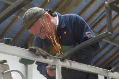… to keep well away from Adrian, cleaning up welds on carriage No. 24's roof …