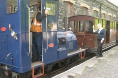At the end of the day, Amanda signals Trefor (with No. 6) to couple up to the carriages …