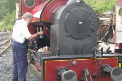 …but Derek has been at it for several hours, here cleaning No. 7 as part of the loco's preparations.