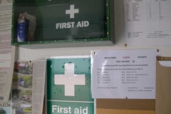 During the day, extra labels have been added to the First Aid boxes throughout the railway …