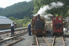 Saturday, 23.8.14. The train crew prepare No. 7 for the day's work, Trefor taking a more relaxed stance!