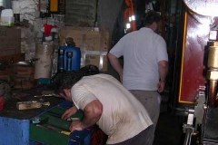 Wednesday, 23.7.14. In the evening, Trefor and Patrick start cleaning No. 7 ready for Friday.