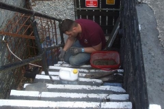 Jack re-sets steps (as well as platform copings) that have come loose over the past year or more …