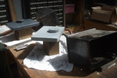 Meanwhile, Adrian has fabricated the second modified lid of the sandboxes, which Tony has primed (the first lid now being in undercoat) …