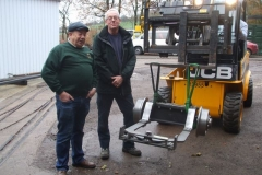 … with a quick break outside for Ian and Andy to pose with the trailing truck they had fabricated and delivered …