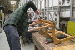 … while Neal assembles the seat laths – carefully!