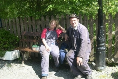 Footplate crew Chris and Trefor enjoy their lunch …