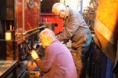Tuesday, 28.7.15.  Richard has had time to think about the brake problem, so enlists the help of Bob in adjusting things …