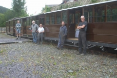 "Advantage is then taken to try a 4 carriage formation up to Corris to check for any problems, here with the ""A – Team"" prominent!"