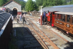 At the end of the day, the passenger train is re-formed for some run-pasts, finishing off with taking water before the majority of participants are returned to Corris (by train).