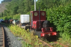 Monday, 19.7.2021. In an early start, No. 5 and waggon 218 are stabled on the original line of main line, below the sheds …