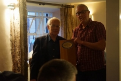 In the evening, the carriage builders enjoy a dinner in The Riverside, Pennal, where sponsor Mike Cruttendon is presented with a plaque as carried by carriage No. 22, with space to add those from carriages 23 & 24 in due course.
