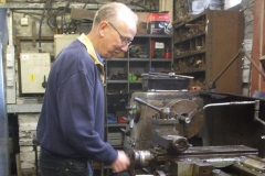 Tuesday, 18.6.2019. Chris takes over turning brake components on the lathe in the Engine Shed while Bob fits components elsewhere …