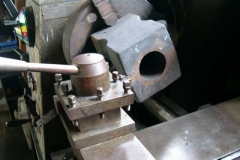 … and the first of the axlebox castings for carriage Nos. 23 & 24 have been set up on the lathe for turning.