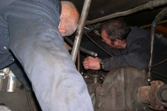 … as Simon and Trefor struggle to fit air braking equipment in No. 11 to make it compatible with our air braking system.